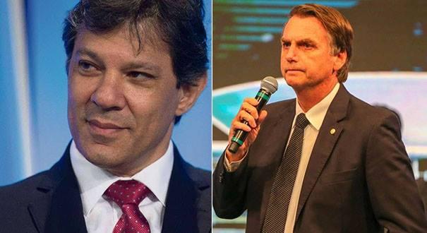 Fernando Haddad e Jair Bolsonaro . Crédito: Reprodução