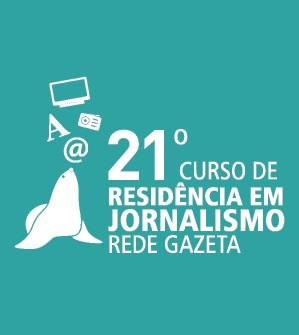 Selo do 21º Curso de Residência em Jornalismo da Rede Gazeta. Crédito: Rede Gazeta