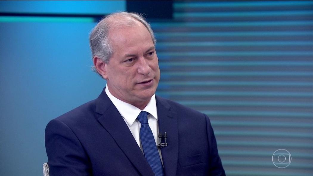 Ciro Gomes (PDT) durante entrevista. Crédito: Reprodução/TV Globo