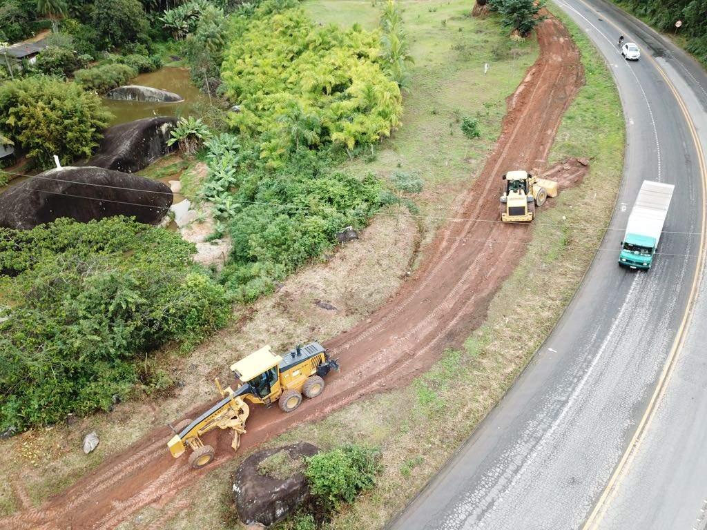Obra de duplicação da BR 262 na altura de Marechal Floriano: modelo de concessão da rodovia está sendo estudado. Crédito: Divulgação