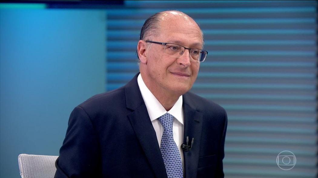 Geraldo Alckmin em entrevista no Jornal da Globo. Crédito: Reprodução TV Globo