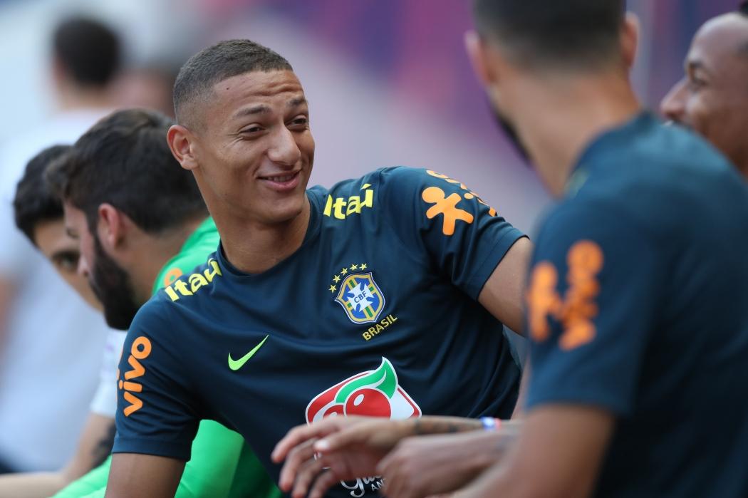 Richarlison durante treino da Seleção Brasileira. Crédito: Lucas Figueiredo/CBF