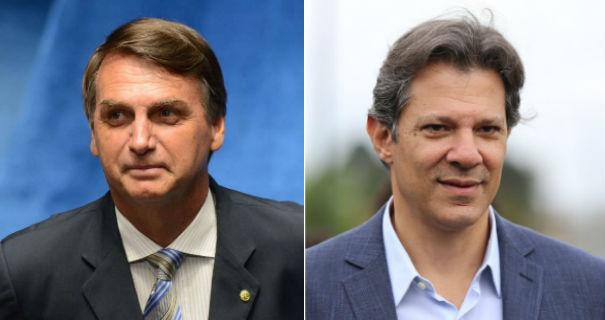 Jair Bolsonaro e Fernando Haddad. Crédito: Agência Brasil / AE