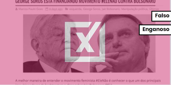 Não é verdade que o megainvestidor George Soros tenha financiado o movimento ENTITY_sharp_ENTITYelenão. Crédito: Projeto Comprova