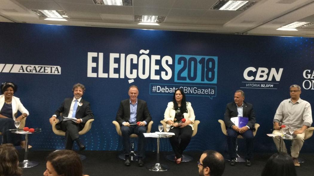 Candidatos ao governo do Estado no debate realizado pela CBN/Gazeta. Crédito: Fábio Botacin