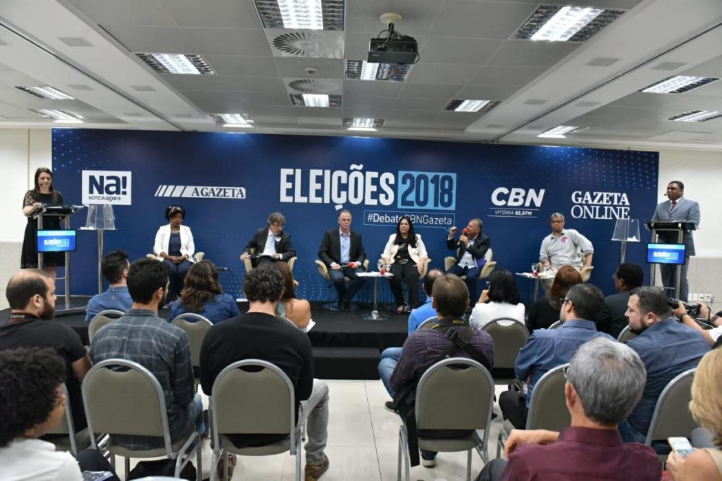 Candidatos ao governo do Estado durante o debate CBN/Gazeta. Crédito: Fernando Madeira