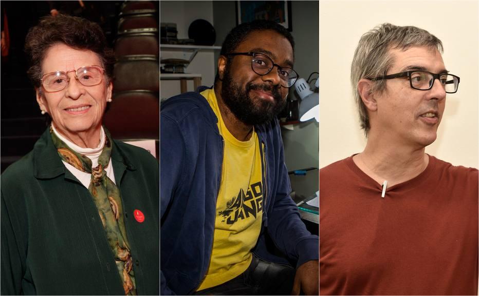 Maria Valéria Rezende, Marcelo D'Salete e Nuno Ramos são alguns dos finalistas do 60º Prêmio Jabuti de Literatura. Crédito: Montagem/Estadão