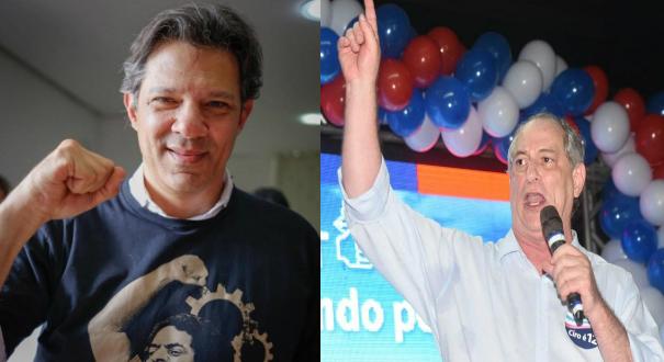 Fernando Haddad (PT) e Ciro Gomes (PDT). Crédito: Montagem | Gazeta Online