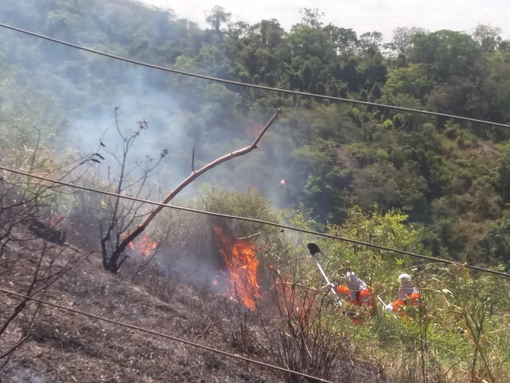 Equipe de brigadistas e engenheiros florestais do Parque Natural Municipal Vale do Mulembá iniciaram o combate ao incêndio. Crédito: Equipe   Vale do Mulembá