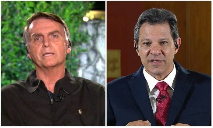 Os presidenciáveis Jair Bolsonaro e Fernando Haddad. Crédito: Reprodução