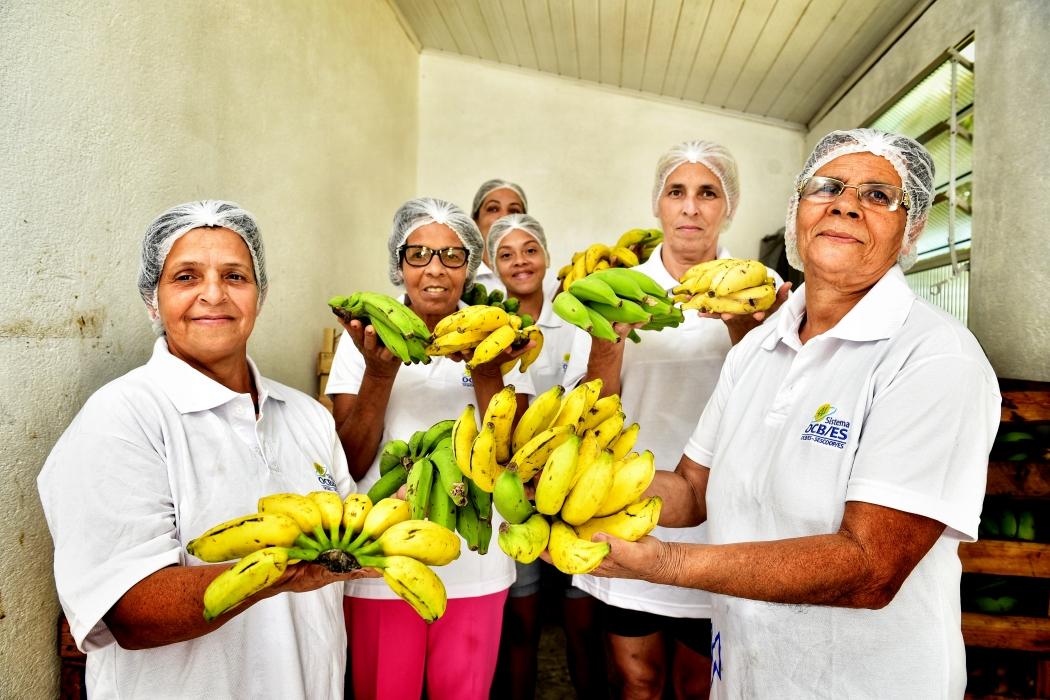 Vera Lúcia Monteiro Barcelos e outras cooperadas na cooperativa agroindustrial Agrocoop. Crédito: Marcelo Prest