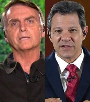 Jair Bolsonaro e Fernando Haddad. Crédito: Reprodução/TV Globo