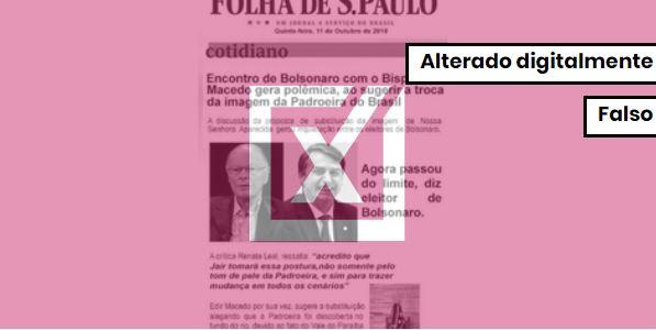 Notícia que sugere que Bolsonaro vá tirar Nossa Senhora Aparecida do posto de padroeira do Brasil é uma montagem. Crédito: Reprodução