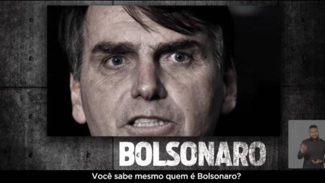 Propaganda do PT que associava Bolsonaro à prática de tortura, foi suspensa por determinação do TSE. Crédito: Reprodução