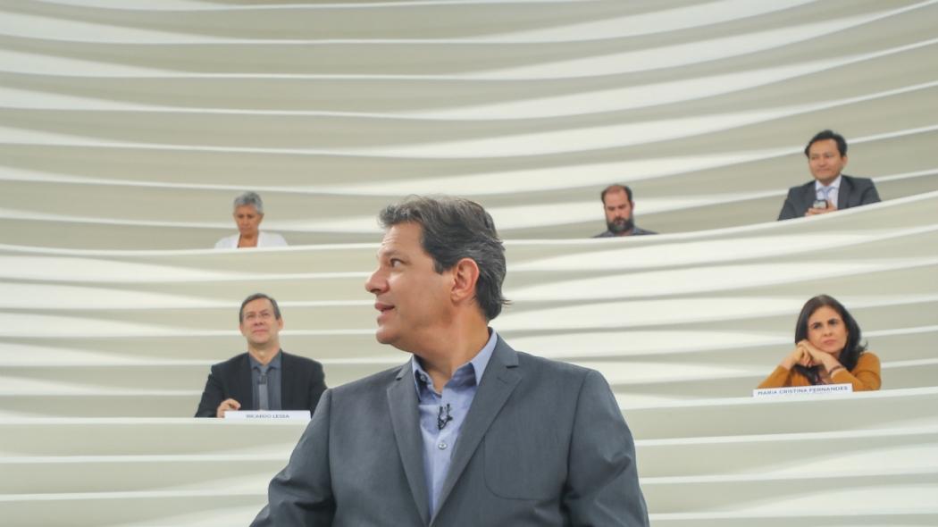 Fernando Haddad no programa Roda Viva . Crédito: Divulgação/PT
