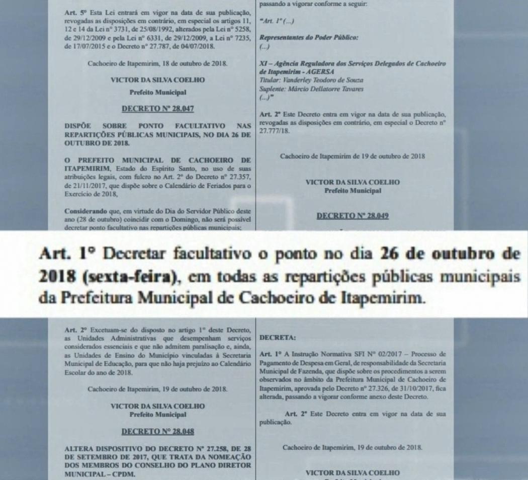Prefeito de Cachoeiro assina decreto para adiantar ponto facultativo de feriado. Crédito: Diego Gomes/ TV Gazeta