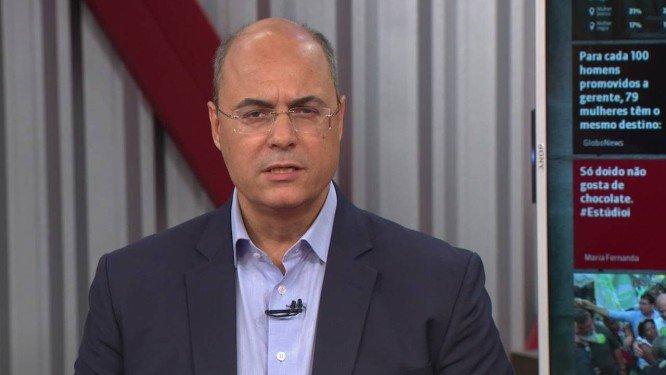 Wilson Witzel em entrevista na Globonews . Crédito: Reprodução