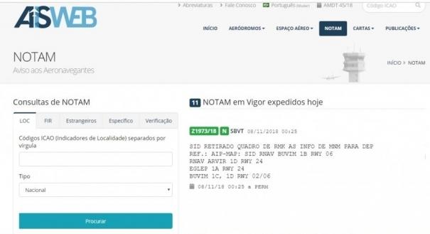 Notam sobre mudança de procedimento no Aeroporto de Vitória. Crédito: Decea/Reprodução