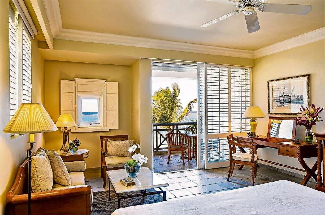 A decoração do quarto é clean. Crédito: The Residence Mauritius