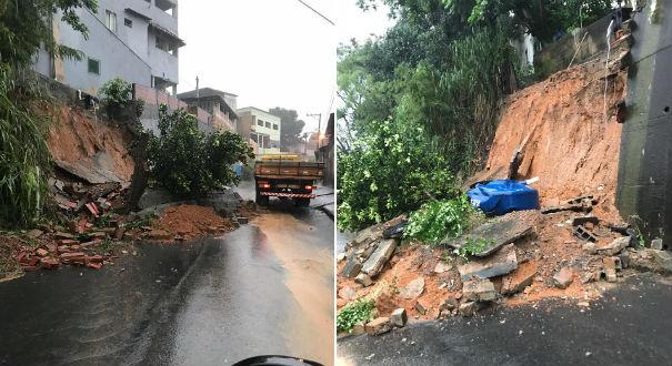 Muro desabou e parte da rua ficou interditada em Cariacica. Crédito: Lucas Silva Passos / Internauta
