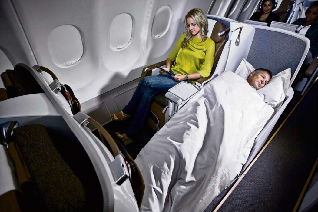 Na Classe Executiva Premium, a poltrona reclina 180 graus. Crédito: South African Airways