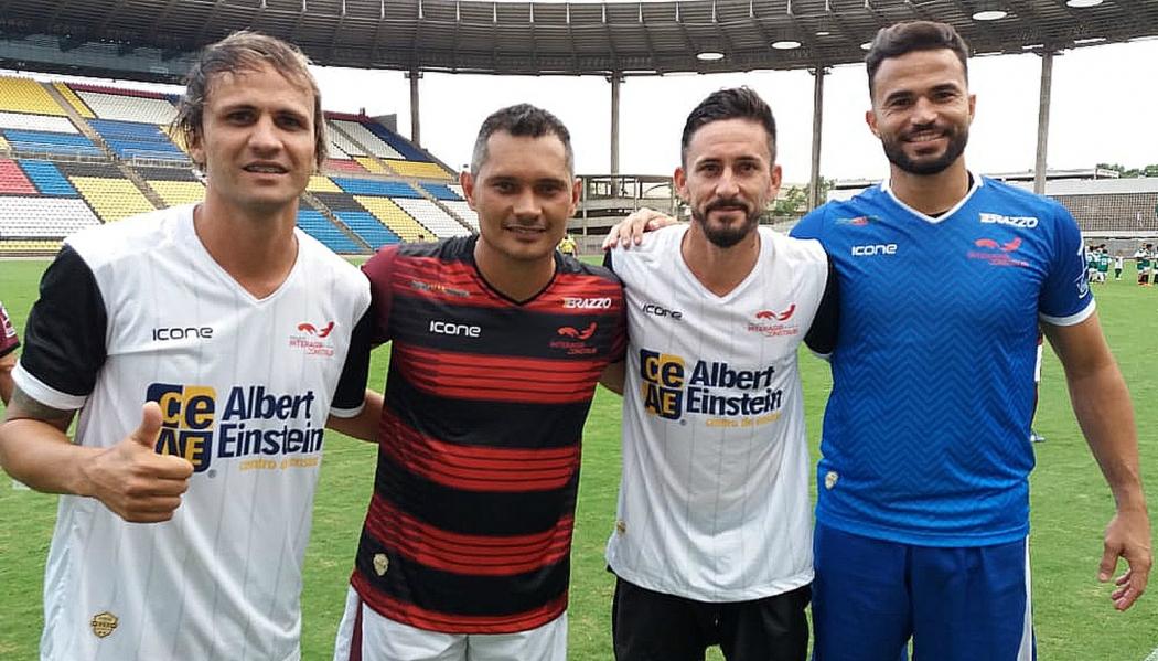 Pepeta, Léo Oliveira, Ronicley e Felipe no Jogo das Estrelas. Crédito: Sidney Magno Novo/GloboEsporte.com