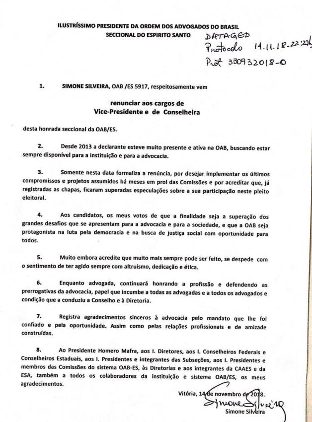 Ofício em que Simone Silveira renuncia à vice-presidência da OAB-ES. Crédito: Reprodução