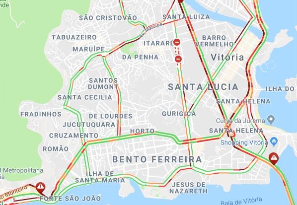 Trânsito congestionado nesta sexta-feira em Vitória. Crédito: Reprodução | Google Maps