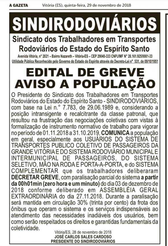 Edital da greve dos rodoviários publicado na edição desta quinta em A GAZETA. Crédito: Reprodução