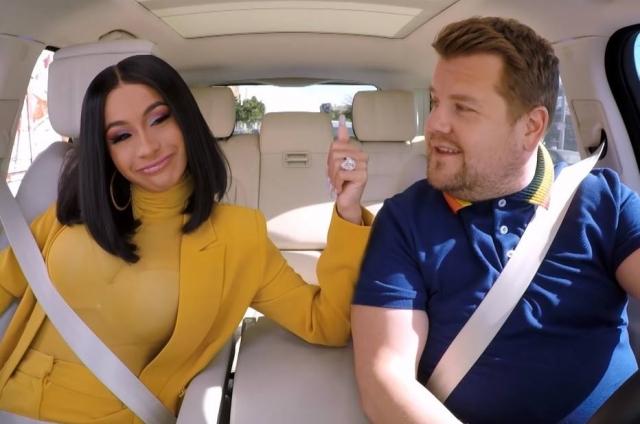 19/12/2018 - Cardi B e James Corden no 'Carpool Karaoke'. Crédito: Reprodução de cena de ENTITY_apos_ENTITYTheLateLateShowENTITY_apos_ENTITY (2018) / YouTube