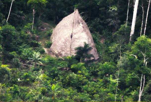Maloca observada durante expedição da Funai pela região sudoeste do Amazonas, na fronteira com o Peru. Crédito: Acervo | Funai