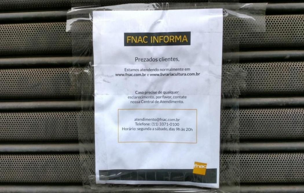 Livraria FNAC fechada em São Paulo. Crédito: Divulgação