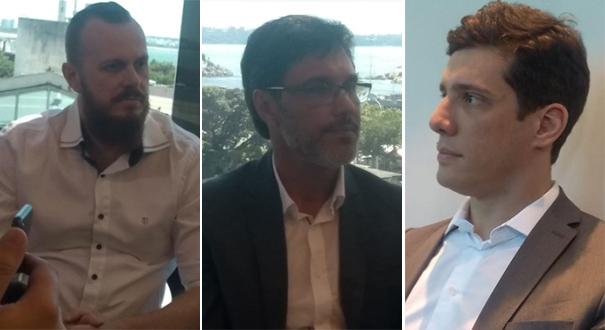Fábio Ahnert (Agerh), Alaimar Fiuza (Iema), e Raphael Trés (Ceturb) foram anunciados por Casagrande nesta sexta. Crédito: Eduardo Dias