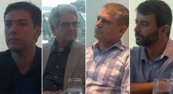 Fabrício Machado (Meio Ambiente), Heber Resende (Desenvolvimento), Dorval de Assis Uliana (Turismo) e Nésio Medeiros (Saúde) foram anunciados secretários nesta sexta-feira (21) por Casagrande. Crédito: Eduardo Dias