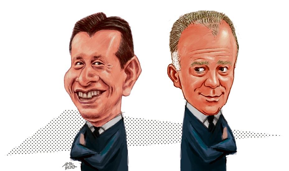 Caricaturas de Casagrande e Assumção. Crédito: Amarildo