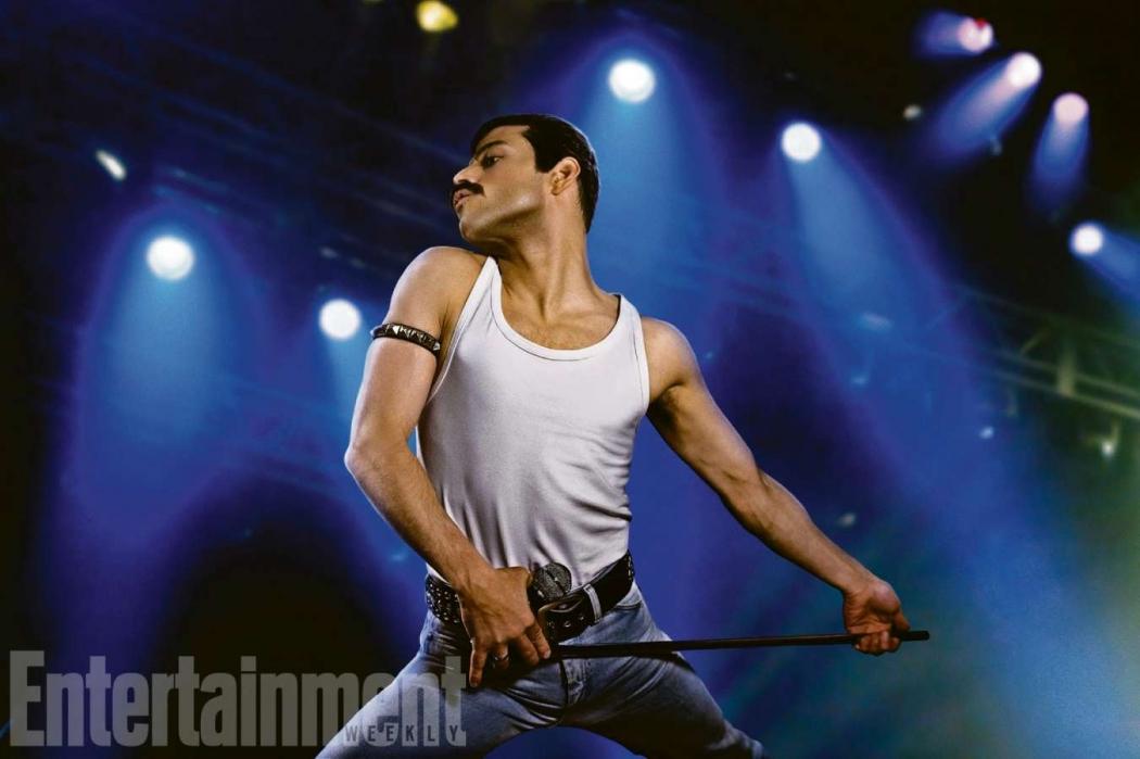 Freddie Mercury foi interpretado pelo ator Rami Malek, que acabou sendo indicado ao Oscar. Crédito: Divulgação/Entertainment Weekly