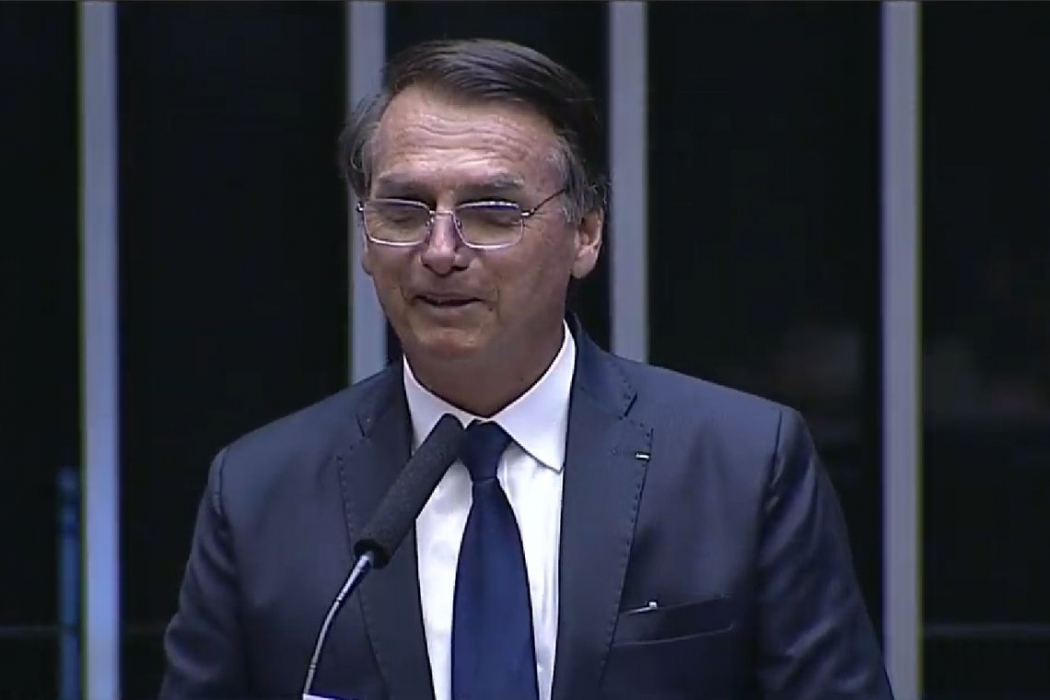 O presidente eleito Jair Bolsonaro toma posse, em sessão solene no Congresso Nacional. Crédito: Agência Brasil