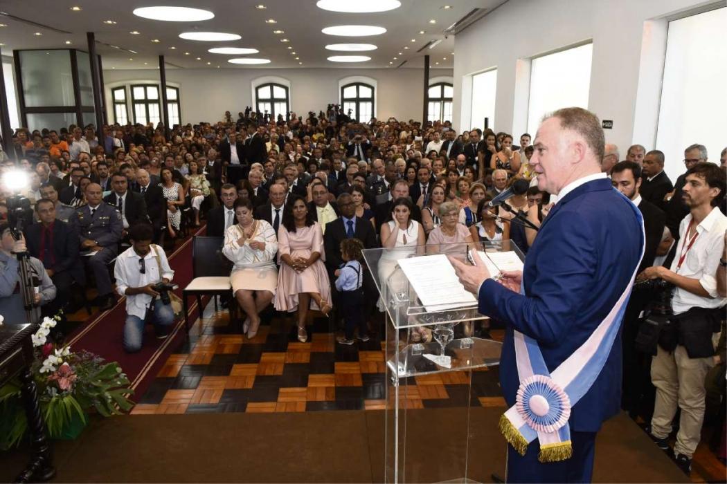 Renato Casagrande durante solenidade de posse como governador no Palácio Anchieta. Crédito: Carlos Alberto Silva