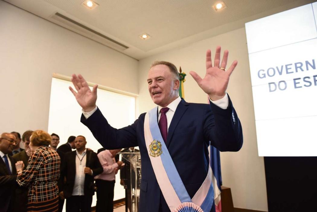 Renato Casagrande durante solenidade de posse como governador no Palácio Anchieta. Crédito: Vitor Jubini
