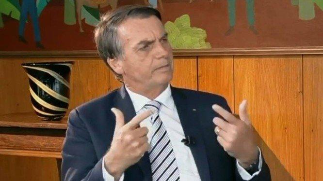 O presidente Jair Bolsonaro, durante entrevista. Crédito: Reprodução/SBT