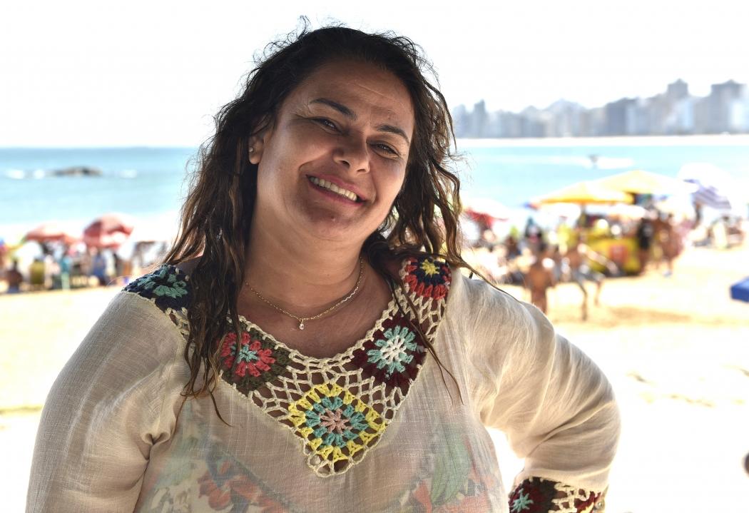 Lúcia veio  de Muriaé (MG) e está hospedada na casa de uma irmã, em Vila Velha. Crédito: Fernando Madeira