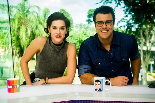 Apresentadores do Vídeo Show: Sophia Abrahão e Joaquim Lopes. Crédito: Divulgação/TV Globo