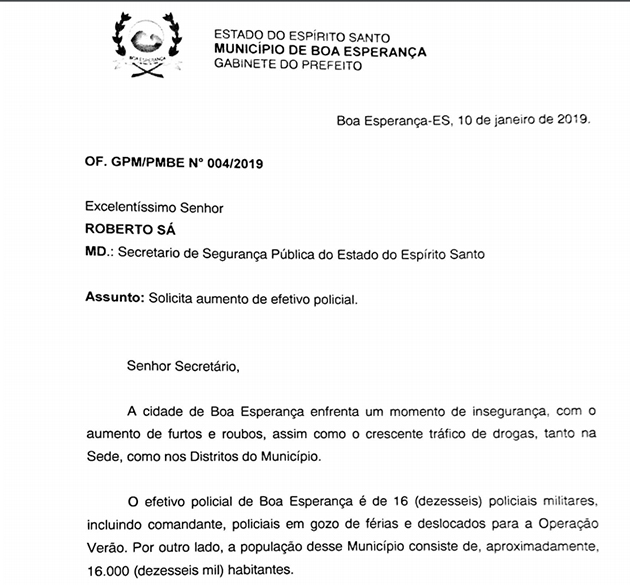 Em ofício, prefeito de Boa Esperança solicita reforço na segurança