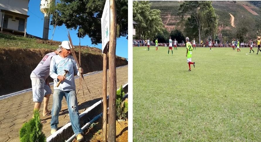 Pedro Bona trabalhando nos preparativos do Torneio da Amizade e no dia seguinte atuando dentro de campo. Crédito: Vinícius Lodi
