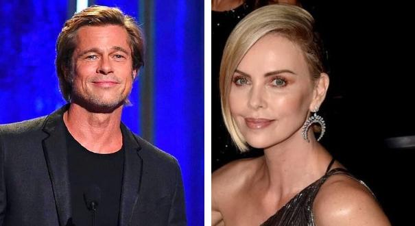 Brad Pitt e Charlize Theron: jornal diz que artistas estão namorando. Crédito: Montagem Gazeta Online