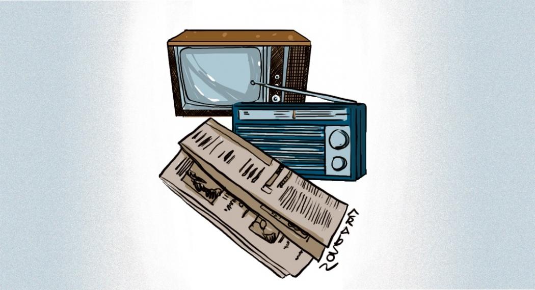 Rádio, TV e Jornal Impresso através do tempo. Crédito: Arabson