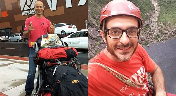 À esquerda, Fabrício Amaral, 42 anos. Na viagem ele estava acompanhado do escalador mineiro Leandro Iannotta (foto à direita), conhecido como Mr Bean. Crédito: Arquivo pessoal | Facebook
