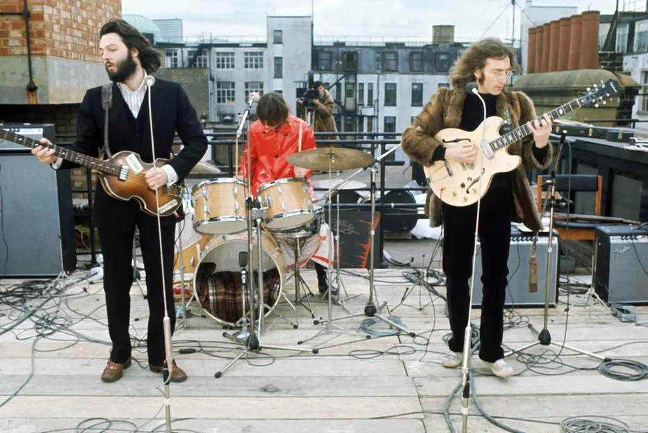 23/01/2019 - Imagens do último shows dos Beatles, no telhado da Apple Records, em 30 de janeiro de 1969. Crédito: Apple Records
