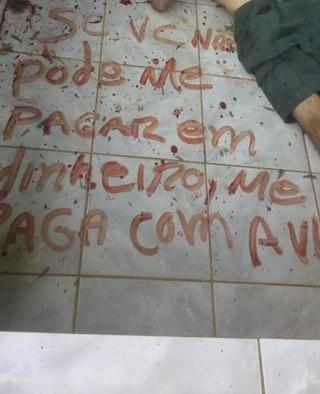 Assassino de empresário deixou uma mensagem escrita com sangue próximo ao corpo da vítima. Crédito: Reprodução/Site Montanhas Capixabas