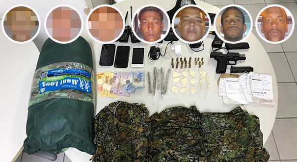 Quatro pessoas presas e três menores apreendidos em operação da PM. Crédito: Montagem/Gazeta Online
